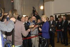 PREMIER MINISTRE PARLANT AU MEDIA DE PRESSE Photo stock