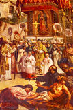 Premier miracle peignant la vieille basilique Guadalupe Mexico City Mexico Photo stock