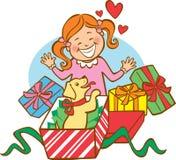 Premier Noël du chiot Images libres de droits