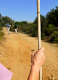 Premier plan des pèlerins sur par l'intermédiaire de De La Plata marchant vers Castilblanco, province de Séville, Andalousie, Esp Photos libres de droits