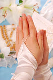 Premier saint communion-amen Photo stock