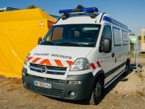 Premier Secours First Aid help van parked onthe street of Frnace. STRASBOURG, FRANCE - APR 28, 2017: Premier Secours - First Aid van parked on the city street Royalty Free Stock Images