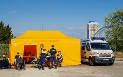 Premier Secours First Aid help van parked onthe street of Frnace. STRASBOURG, FRANCE - APR 28, 2017: Premier Secours - First Aid van parked on the city street Royalty Free Stock Images