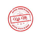 Premier timbre de carte de voeux d'April Fool Day Happy Holiday Photo stock
