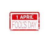 Premier timbre de carte de voeux d'April Fool Day Happy Holiday Image libre de droits