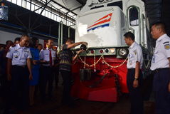 The premiere of Ambarawa express train journey Stock Image