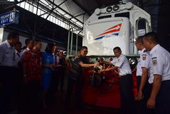 The premiere of Ambarawa express train journey Stock Photography