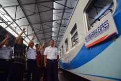 The premiere of Ambarawa express train journey. Officials from DAOP IV and the City Government of Semarang perform ceremonial celebration and the departure of Stock Photo