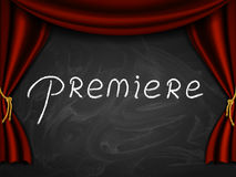 Premiere On Blackboard. Caption premiere written on the board with stage curtains Stock Image