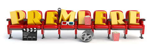 Premiere. Cinema, movie video concept. Row of seats with popcorm Stock Photography