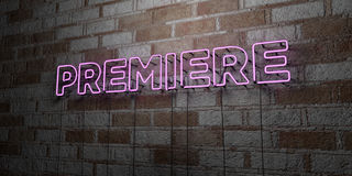 PREMIERE - Glowing Neon Sign on stonework wall - 3D rendered royalty free stock illustration Stock Photos