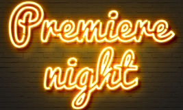 Premiere night neon sign on brick wall background. Stock Images