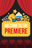 Premiere poster. Colorful vector poster of movie premiere with cinema curtains, seats, welcome sign, cine, popcorn, 3d glasses, tickets and slate on dark Stock Image