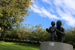 Premiere is the sculpture for mother care of first steps for child in Gavle City park,. Artist Torsten Fridh, 1986 donation from the GD-Fund. Torsten Fridhs Stock Photo