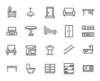 Premiereeks pictogrammen van de meubilairlijn Stock Afbeelding