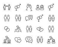 Premiereeks pictogrammen van de paarlijn stock illustratie