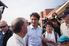 Premierminister Justin Trudeau Talking in Charlottetown lizenzfreie stockbilder