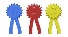 Premiers deuxièmes et troisième rubans de récompense d'endroit Photos libres de droits