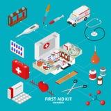 Premiers secours Kit Element Set Isometric View Vecteur Photo stock