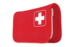 Premiers secours rouges Kit Soft Bag avec la croix blanche rendu 3d illustration stock