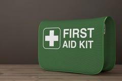 Premiers secours verts Kit Soft Bag avec la croix blanche rendu 3d illustration stock