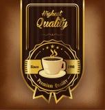 Premii etykietki kawowy projekt nad rocznika tłem Obraz Stock