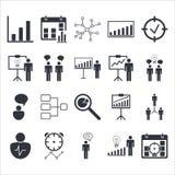 Premii ilości ikony sety zarządzanie projektem, działy zasobów ludzkich, komunikacja i statystyk ikony, Nowożytna sieć symbolu ko Obraz Stock
