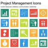 Premii ilości ikony sety zarządzanie projektem, działy zasobów ludzkich, komunikacja i statystyk ikony, Nowożytna sieć symbolu ko Obrazy Stock