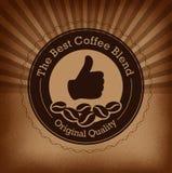 Premii kawowa etykietka nad rocznika tłem Zdjęcie Royalty Free
