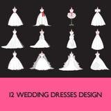 Premii ślubnej sukni set ilustracji