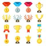 Premio al éxito, trofeo del cumplidor, icono de la medalla de los logros Oro, plata, iconos del vector de las medallas de bronce  libre illustration