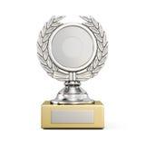 Premio d'argento con una corona dell'alloro isolata su fondo bianco 3 Immagini Stock Libere da Diritti