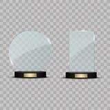 Premio de cristal del trofeo Ejemplo del vector en fondo transparente Imagenes de archivo