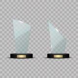 Premio de cristal del trofeo Ejemplo del vector en fondo transparente Imágenes de archivo libres de regalías