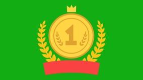 Premio de la animación para el primer lugar Medalla con el número uno Guirnalda del oro y cinta roja ilustración del vector