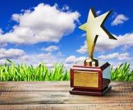 Premio de la estrella en la tabla imagen de archivo libre de regalías