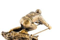 Premio de la figurilla del campeón del esquí del oro Fotografía de archivo