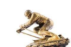 Premio de la figurilla del campeón del esquí del oro Fotos de archivo libres de regalías