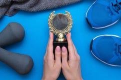 Premio de oro de la aptitud de la medalla foto de archivo