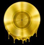 Premio de registro fundido o derretido del oro de la música del disco Imagen de archivo