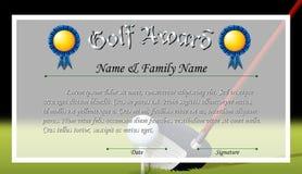 Premio del certificato per il premio di golf Immagini Stock Libere da Diritti