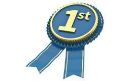 Premio del fairst de Blue Ribbon aislado en el fondo blanco illust 3d ilustración del vector