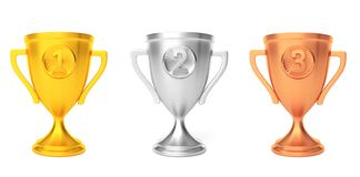 Premio del vincitore della tazza del bronzo dell'argento dell'oro isolato su bianco 3d rendono immagini stock libere da diritti