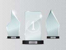 Premio di vetro del trofeo Illustrazione di vettore su fondo trasparente Immagini Stock