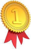 Premio dorato del primo posto con il nastro rosso Fotografia Stock