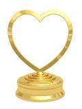 Premio en forma de corazón de oro con la placa en blanco Imagenes de archivo