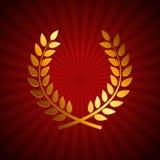 Premio Laurel Wreath dell'oro Etichetta della foglia del vincitore, simbolo della vittoria Fotografia Stock Libera da Diritti