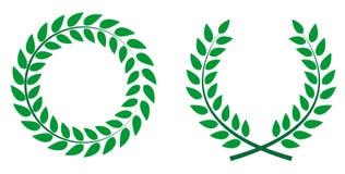 Premio Laurel Wreath Etichetta della foglia del vincitore, simbolo della vittoria Vect Fotografia Stock Libera da Diritti