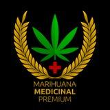Premio medicinal de la marijuana, texto español de la marijuana médica superior libre illustration