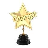 Premio o trofeo del campeón del oro Foto de archivo libre de regalías